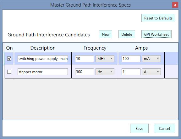 Master Ground Path Interference Specs
