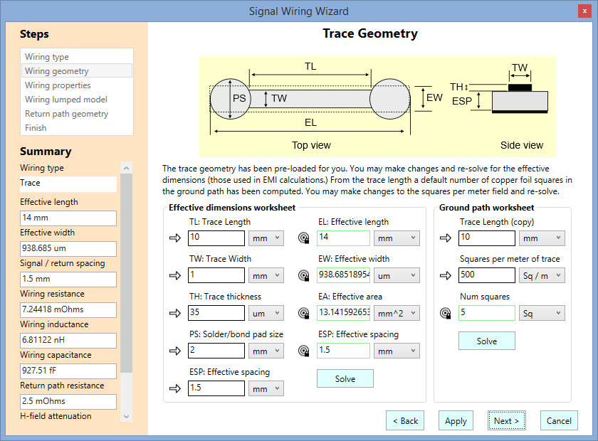 Trace Geometry Wizard Page